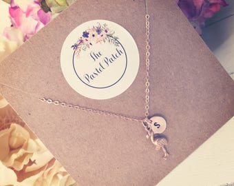 Rose gold necklace with flamingo charm - gift ideas for her on anniversaries, birthdays, summer