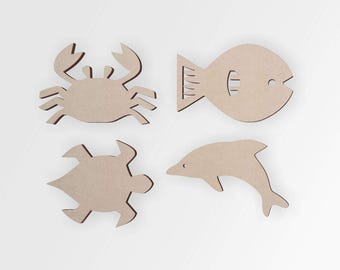 Wooden Beach Cutout (4 Pack) | Bathroom Decor Sets | Beach Wall Art | Cutout, Home Decor, Unfinished and Available from 12 to 42 Inches Tall