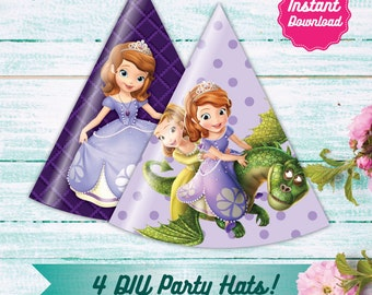4Sofia the First Party Hats, Printable Sofia the First Birthday Party Decoration, Instant Download, Princess Sofia Party, Sophia