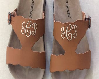 NEW TAN bork-42 Personalized Sandals, Shoes, Monogram, Adjustable strap ensures a great fit  Summer Style, Summer,Monogrammed Sandals,