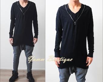 Men Essentials V-Neck Zipper Closure Cotton Asymmetric Hem Lengthen Extended Oval Long Sleeve Tee Tshirt