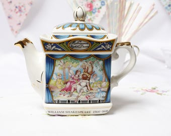 "Vintage English Sadler teapot:  William Shakespeare "" A Midsummer night dream"" collectable teapot"