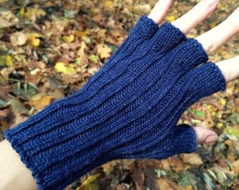 Navy gifts navy gloves navy blue gloves handknit gloves Navy arm warmers hand warmers Xmas gift womens gloves half finger ladies gloves wool