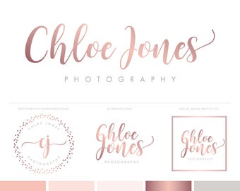 Logo Design Photography Logo Brand Package Photography Logo and Watermark - Premade Logo Rose Gold Brand Kit