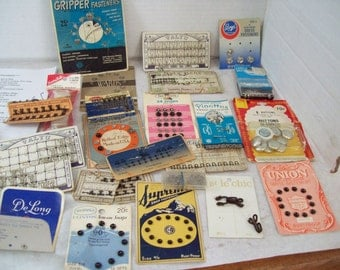 Vintage Lot of Sewing Notions, SNaps, Hooks and Loops, Free Shipping