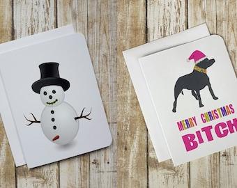 Funny Christmas Cards, Christmas Card Set, Naughty Christmas Card, Dog Card, Sweary Christmas Card, Dog Card, Penis Card, Tits, Boobs Card