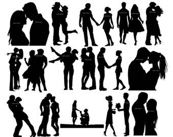 16 Couple Silhouettes Clipart.Couple in Love.Digital clipart.Digital images.Instant download