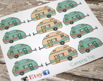 Vintage camper Planner Stickers - Reminder Stickers - Planner Stickers - Camping Stickers - Vacation Stickers - Happy Planner - Glamping