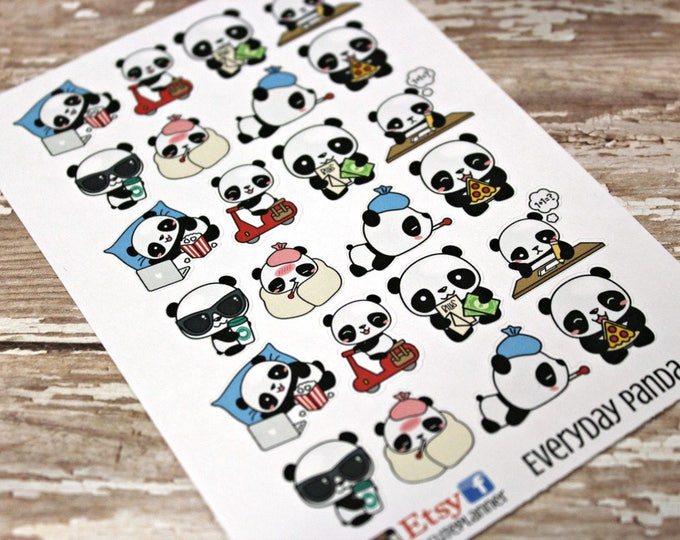 Panda Stickers - Panda Planner Stickers - Character Stickers - Pizza Panda - Sick Panda - Pay the bills Stickers - Coffee panda - Cold Panda