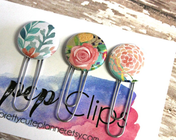 Planner Clips - Planner Clip set - Flair planner clip - Floral clip - floral paper Clip - flower Clip  - bookmark paperclip