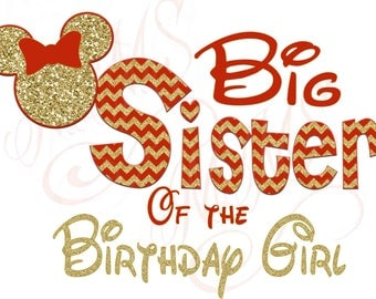 Big Sister Birthday Girl Minnie Mickey Red Gold  Mouse Mom Birthday Boy Shirt DIY Iron On Digital Art Matching Red Black Dot Birthday