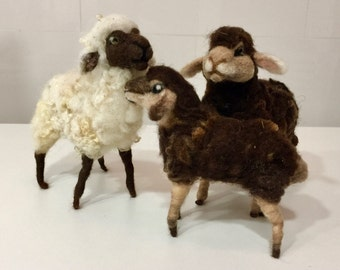 Needle felted sheep, needle felted lamb, needle felted flock, wool sheep, wool lamb, Waldorf sheep, Waldorf lamb, sheep figurine, lamb