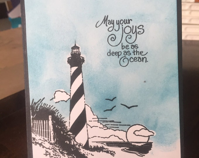 Handmade Card, Stamped Card, Seaside Greetings, Birthday Card, Masculine Card, Notecard, Lighthouse Note card, Birthday Card