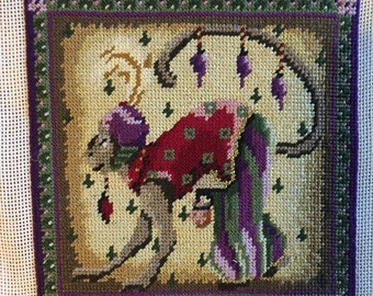 Completed Petit Point Of a Stylized Monkey, 5.2X5.2