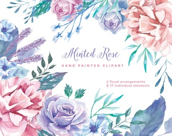Minted Rose Clip Art, Watercolor Floral Elements. Includes peonies and roses.  Perfect for wedding invitations, greeting cards and more.