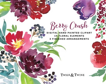 Watercolour Flower Clipart - Berry Crush. Hand painted Flowers and leaves, with 3 arranged bouquets.