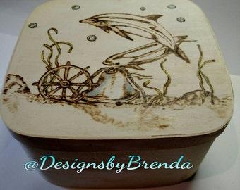 Dolphin | Sea Life|  Pyrography Art | Jewelry | Storage| Keepsake | Essential Oil | box