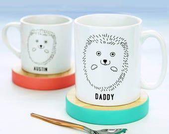Hedgehog Mug - Scandi Hedgehog Mug Set  - Scandi - Scandi Mug -  Personalised  Mug Set