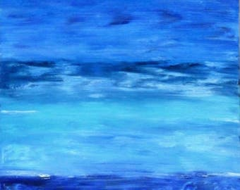 """Blue abstract table / """"Blue Lagoon"""" / abstract painting / Oil painting / contemporary painting / wall Decoration / gift idea."""
