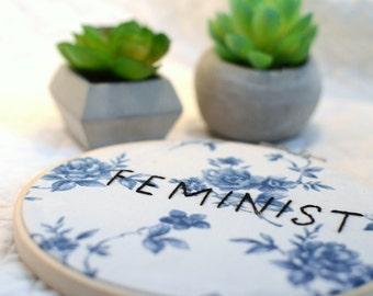 FEMINIST HAND EMBROIDERY | hand embroidered feminist on blue dalton china pattern vintage fabric \ feminist art decor \ girl power \ classy