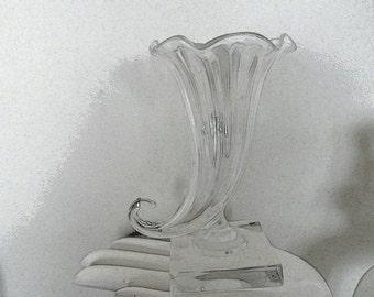 Steuben art glass Cornucopia square base etched signature Art Deco glass