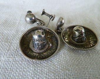 Vintage Mexican Sombrero Silver earrings