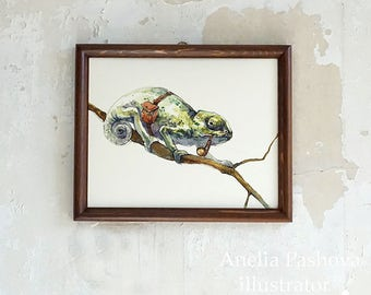 Camaleón / Travaler / imprimir desde una original ilustración / decoración de arte de la pared de casa