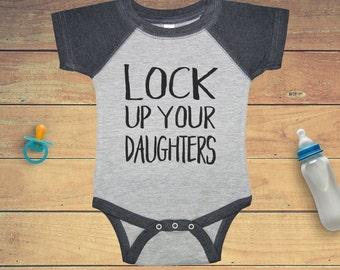 Lock up your daughters! Funny baby boy bodysuit in heather gray, baseball bodysuit