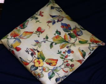 Soft yellow floral cushion cover