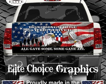 Military Honor Vets Patriotic Flag Truck Tailgate Wrap Vinyl Graphic Decal Sticker Wrap
