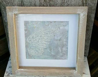 Mixed media Encrusted Sparkly Angel Wing Memorial Keepsake Remembrance framed Artwork piece