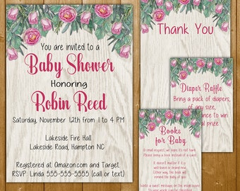 Roses Baby Shower Invitation Set, Pink Roses, Diaper Raffle, Books for Baby, Thank You Note, Girl Baby Shower Invitation