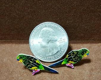 Green Parakeet Stud Earrings