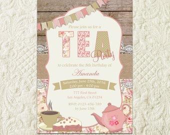 Tea Party Invitation, Birthday Tea Party, Shabby Chic Invitation, Tea Party Invite, Shabby Chic Birthday Invite, Girls Tea Party Invitation