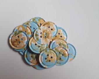 Blue floral paper buttons