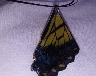 Butterfly Wing Necklace - Eastern Tiger Swallowtail Butterfly Hind Wing
