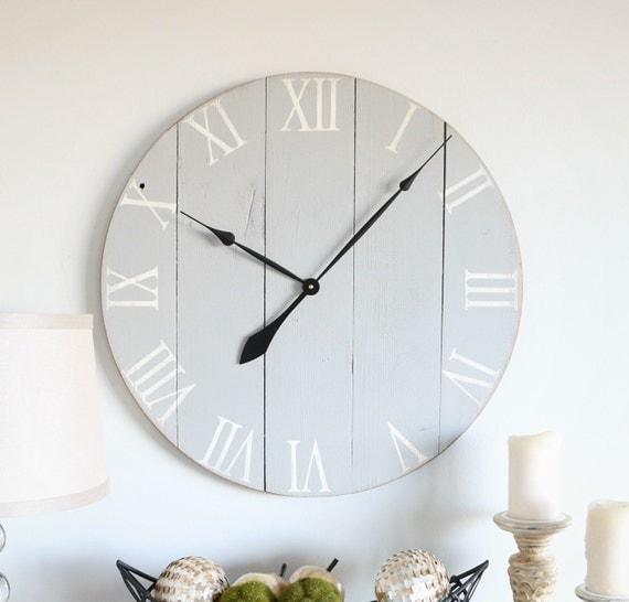 Light grey wooden clock. Vintage wall clock. Valspar radiance