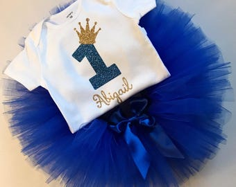 Blue Smash Cake Outfit - Blue Girls Smash Cake Outfit - Blue Girls Cake Smash Set - Smash Cake Shirt - Blue Tutu