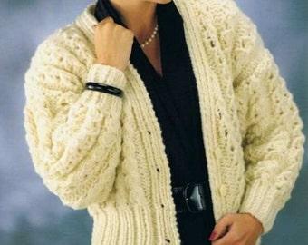 Ladies Cardigan, Super Bulky, Knitting Pattern. PDF Instant Download.