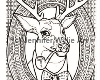 hipster deer taxidermy adult coloring page coloring book printable adult coloring hand drawn - Hipster Coloring Book