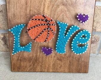 Basketball nail art etsy made to order love basketball string art board prinsesfo Choice Image