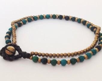 Chrysocolla anklet 2 strands anklet Mini bead anklet Woman anklet
