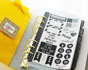 Simply Black and White Personal Size Mini Planner Kit