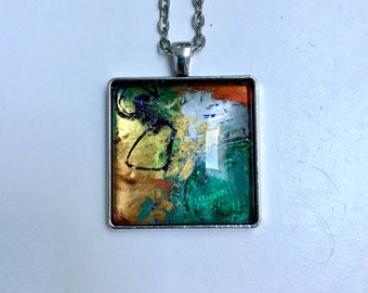 Painted glass necklace, original glass necklace, hand painted abstract glass necklace, modern square glass pendant, one of a kind necklace