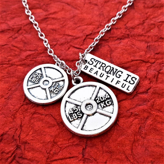 Fitness Charm Necklace, Fitness Gifts, Custom CrossFit Jewelry, Dumbbell Kettlebell Charms, Bodybuilding Weightlifting Sports Jewelry Gifts