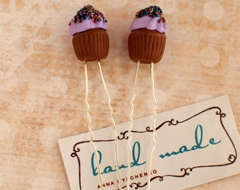 Cupcake hair pin Set of two hair pins Violet cupcakes Food jewelry Sweet jewelry Bobby pin cupcake Cupcake jewelry