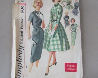 1950s Simplicity #2646 Pattern for Size 16 Misses Skirts, Collar, Bow and Belt