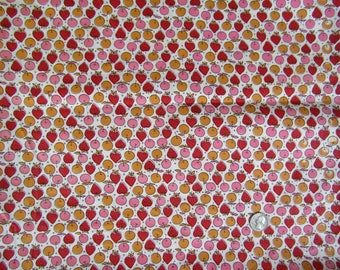 4.5 yards vintage fabric with strawberries apples cherries