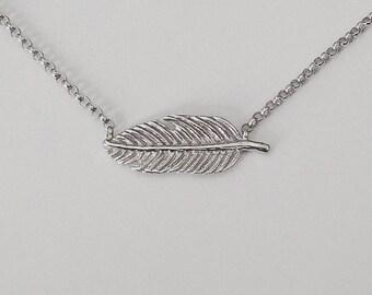 leaf necklace, silver leaf necklace, flower necklace, unique necklace, leaf jewelry, delicate necklace, leaf pendant, handmade necklace
