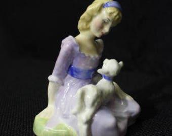 "MINT Royal Doulton ""Mary Had a Little Lamb"" Figurine #HN 2048, England 1948"